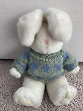 Vintage Dan Dee White Bunny Rabbit Floppy Ears Knit Sweater Stuffed Plush Easter