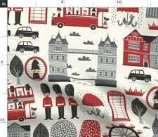 New listing London British Bus Great England Spoonflower Fabric by the Yard