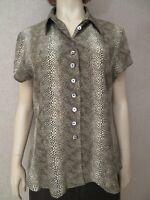 Talbots Women's Sz L Top Tunic Blouse Dress Shirt Silk Animal Print