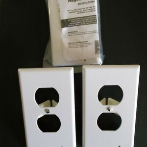 3Pk White Outlet Wall Plates w/LED Night Lghts Infrared (No Battery or Wires)
