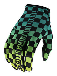 Troy Lee Designs Flowline Gloves - Checkers Green Black - Motocross Off-Road BMX