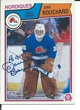 Signed Dan Bouchard Quebec Nordiques 1983-84 O-Pee-Chee Hockey Card #290