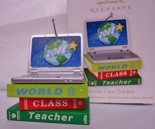 HALLMARK 2011 World Class Teacher Laptop computer & Books ornament NEW