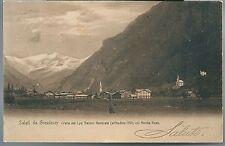 1904ca SALUTI DA GRESSONEY cartolina Bacini Generale Monte Rosa Valle d'Aosta