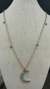 Barse Turquoise Moon Necklace- Bronze- New with Tags