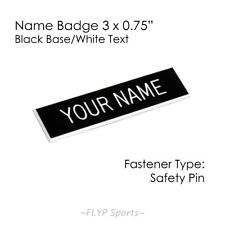 "Name Badge Tag Plate Black/White Safety Pin 3x3/4"" Personalised Engraved Cust..."