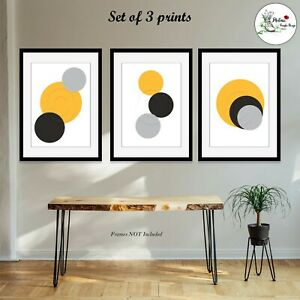 Set of 3 Abstract Prints Home Wall Art Yellow Black Picture Print ONLY A4 or A3