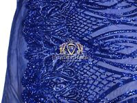 Royal Blue Sequins Fabric 4 Way Stretch Embroidered A Mesh Lace Fabric By Yard