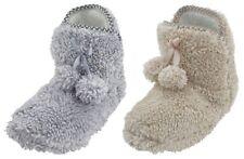 Slumberzzz Ladies Two Tone Fleece Pom Pom Bootie Slippers