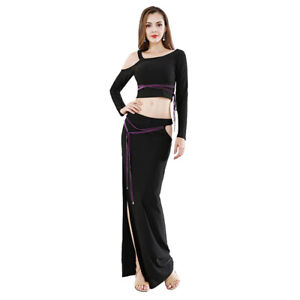 New Sexy Belly Dance Costume Practice Outfit One shoulder out & Split Skirt