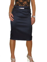 NEW Stretch Matte Satin Skirt Diamante Belt Navy Blue 8-22