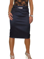 Womens Stretch Matte Satin Skirt Diamante Belt Navy Blue Office Party Work 8-22