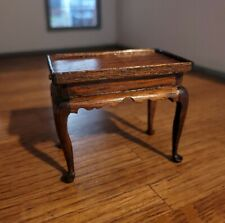DOLLHOUSE MINIATURE  VINTAGE ARTISAN NICE TEA TABLE WITH PULL OUT TEA