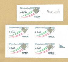 VARIETA' POSTE ITALIANE BUSTA ORO € 0,60 IN QUARTINA **