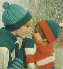 SCARVES, CAPS, MITTS & GLOVES SET   CHILDS AND LADIES   DOUBLE KNIT WOOL
