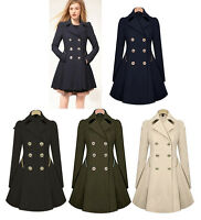 Women's Slim Double Breasted Trench Coat Fashion Outwear Overcoat Windbreaker