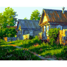 """Country Cottage Paint by Number Kit DIY Oil Painting Landscape Dimensions 20""""x16"""