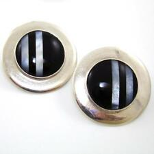 Large Sterling Silver Black Onyx MOP Inlay Large 35mm Circle Earrings