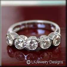 1.25 CT FOREVER ONE GHI  MOISSANITE ROUND FIVE STONE SEMI ETERNITY RING