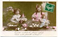 French Postcard- Cute Girls with Dolls & Baskets c1910