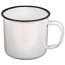 Emaille-Tasse Becher Email Camping-Geschirr Outdoor Kaffee weiß emailliert 350ml