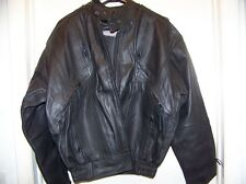 Men's Vented Gathered  Leather Motorcycle Jacket  Size 44