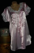 USA M Liquid Satin Pink Night Gown Shirt White Lace Pintuck Pleats Ribbon Ties