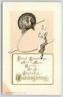 Thanksgiving~Pilgrim Lady & Turkey~Two Sides of Wishbone~Gold Leaf~John Winsch