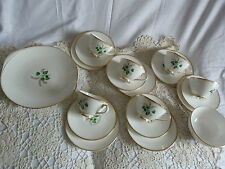 Tuscan China 6 x Trio Cups Saucers Plates Bowl Tea Charm Green Floral Gold