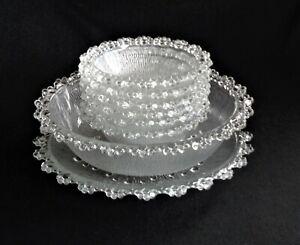 Beautiful Vintage Aderia Japan Bubble Lace Textured Glass 8 Piece Dessert Set