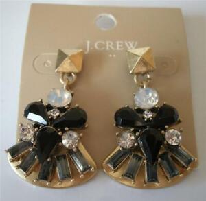 New J Crew Factory Black Onyx Crystal Gold Fan Statement Earrings + Pouch