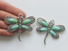 5pcs Turquoise & Silver Large Dragonfly Charms Pendants Jewelry Findings 60x53mm