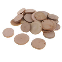 30x Predrilled Natural Round Wood Slices Circles Discs for DIY Crafts 3-4cm