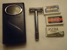 New Classic Double Edge  Shaving Safety Razor+ 5 Astra Blades+Mirror Case