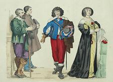 Costume Francais Mode Fashion Gentilhomme et Paysan Gravure originale XIXème