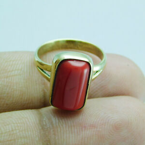 Coral Ethnic Jewelry Brass Handmade Ring US Size 5.5 R-1434