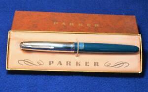VTG 1950th Parker 51 Special fountain pen in Teal Blue w original box M nib