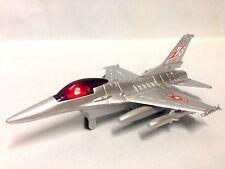 "Lockheed Martin F-16 Falcon Aircraft Sound Light 8"" Diecast Pull Back Toy Silver"