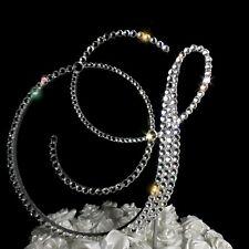 "Handmade Swarovski Clear Crystals 6"" Wedding Cake Topper Monogram Letter ""S"""