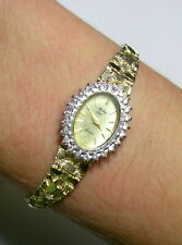 14K Yellow Gold Authentic Mathey Tissot Watch,24 Diamonds, Nugget Style w Safety