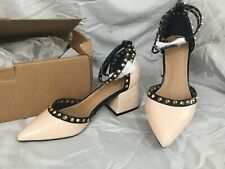 ASOS Pink Studded Mid Block Heels Size 2 New In Box Minor Defect