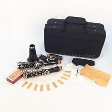 Clarinet Bakelite 17 Key Bb Flat Soprano Nickel with 10 Reeds Screwdriver Hot