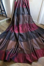 NEXT STRIPED CURTAINS EYELET 53x72 TAUPE,DEEP RED,BROWN,METALLIC SILK,LINED