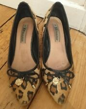 HXti  LEOPARD PRINT LEATHER KITTEN HEEL POINTED SHOES WITH BOW SIZE 3 EU 36