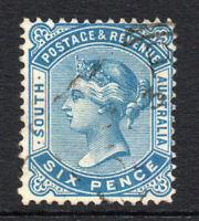 South Australia 6 Pence Stamp c1883-99 Used (2893)