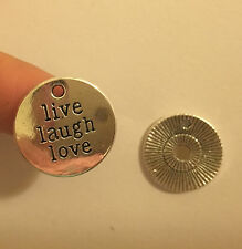 10 live laugh love charms pendants tibetan silver antique jewellery making UK