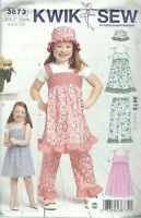 Kwik Sew 3673 Sugar & Spice Girls' Dresses, Pants & Hat 4 to 8   Sewing Pattern