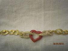 GOLD CHAIN 7 INCH RED CRYSTAL HEART BRACELET BY LAUREN SPENCER