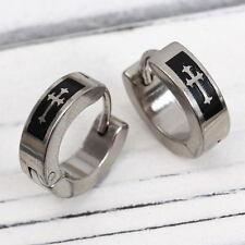 2 Stainless Steel CROSS Men's Huggie Stud Hoop Earrings