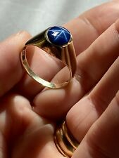 10K Solid Yellow Gold Syn Blue Star Sapphire Mens Ring Size 10 MCM Classic Set